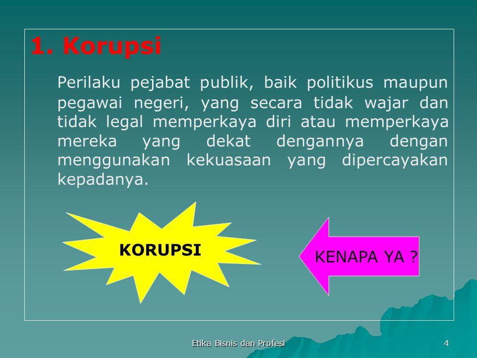 4 1. Korupsi Perilaku pejabat publik, baik politikus maupun pegawai negeri, yang secara tidak wajar dan tidak legal memperkaya diri atau memperkaya me