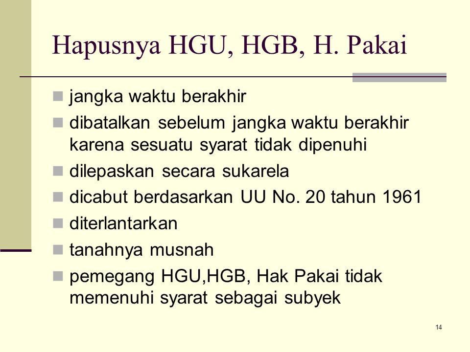 14 Hapusnya HGU, HGB, H. Pakai jangka waktu berakhir dibatalkan sebelum jangka waktu berakhir karena sesuatu syarat tidak dipenuhi dilepaskan secara s