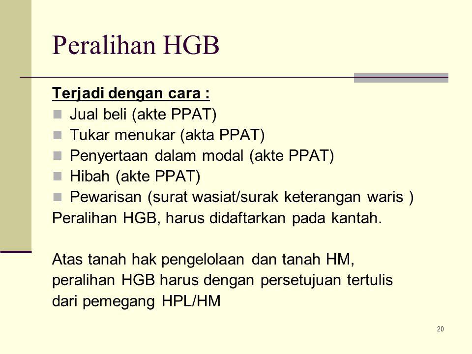 20 Peralihan HGB Terjadi dengan cara : Jual beli (akte PPAT) Tukar menukar (akta PPAT) Penyertaan dalam modal (akte PPAT) Hibah (akte PPAT) Pewarisan