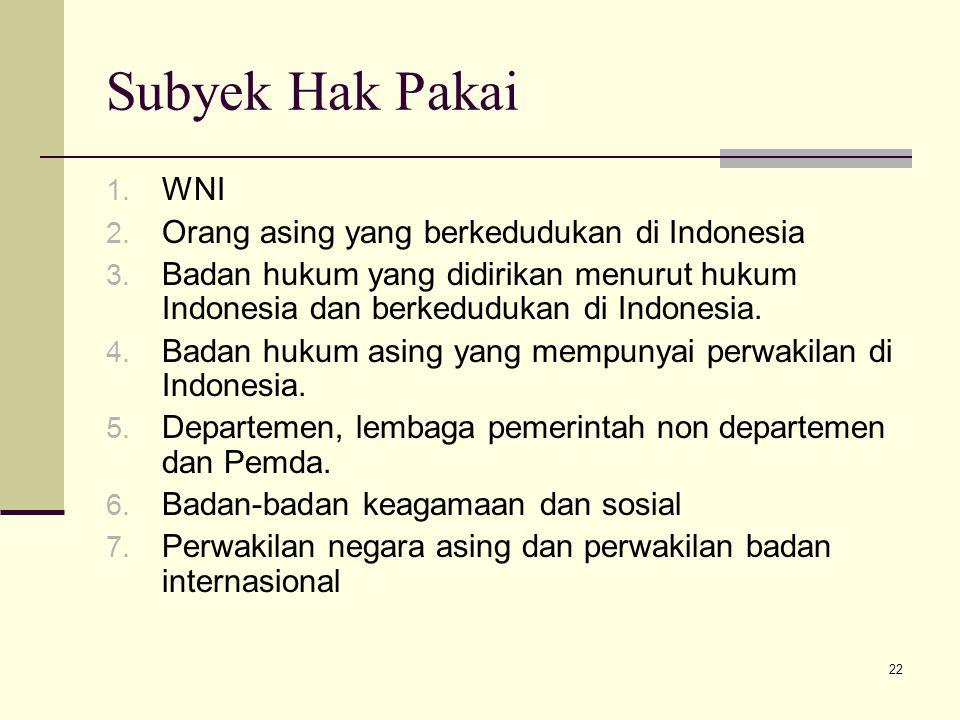 22 Subyek Hak Pakai 1. WNI 2. Orang asing yang berkedudukan di Indonesia 3. Badan hukum yang didirikan menurut hukum Indonesia dan berkedudukan di Ind