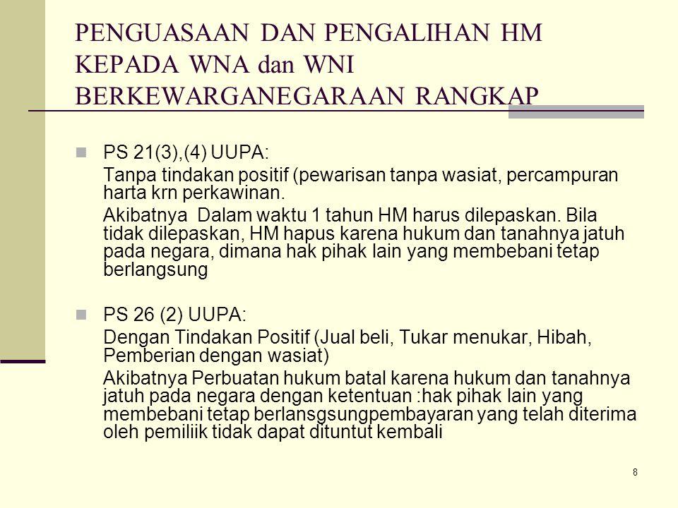 9 Hapusnya HM 1.Tanahnya Jatuh pd Negara : a. pencabutan hak b.