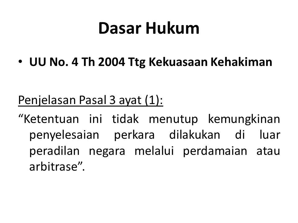 "Dasar Hukum UU No. 4 Th 2004 Ttg Kekuasaan Kehakiman Penjelasan Pasal 3 ayat (1): ""Ketentuan ini tidak menutup kemungkinan penyelesaian perkara dilaku"