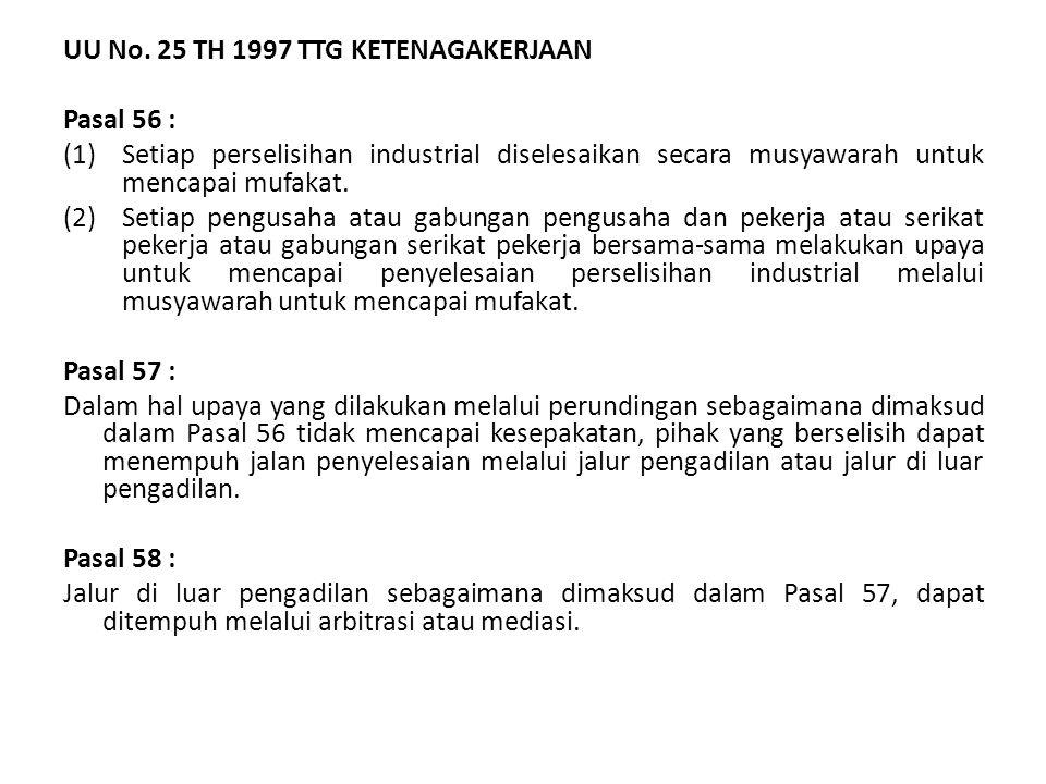 UU No. 25 TH 1997 TTG KETENAGAKERJAAN Pasal 56 : (1)Setiap perselisihan industrial diselesaikan secara musyawarah untuk mencapai mufakat. (2)Setiap pe