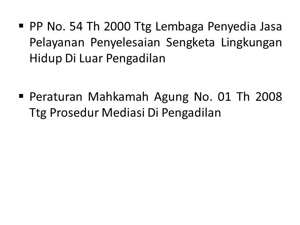 PP No. 54 Th 2000 Ttg Lembaga Penyedia Jasa Pelayanan Penyelesaian Sengketa Lingkungan Hidup Di Luar Pengadilan  Peraturan Mahkamah Agung No. 01 Th