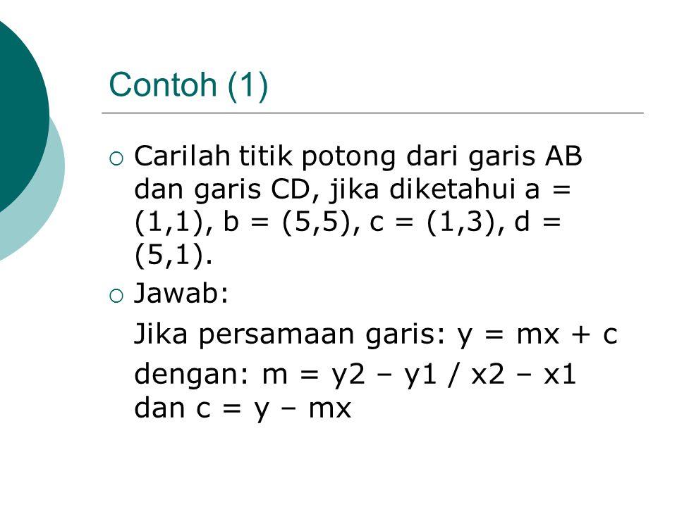 Contoh (1)  Carilah titik potong dari garis AB dan garis CD, jika diketahui a = (1,1), b = (5,5), c = (1,3), d = (5,1).  Jawab: Jika persamaan garis