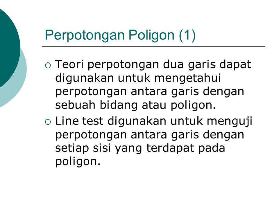 Perpotongan Poligon (1)  Teori perpotongan dua garis dapat digunakan untuk mengetahui perpotongan antara garis dengan sebuah bidang atau poligon.  L