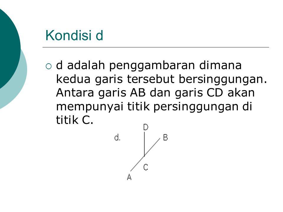 Kondisi d  d adalah penggambaran dimana kedua garis tersebut bersinggungan. Antara garis AB dan garis CD akan mempunyai titik persinggungan di titik