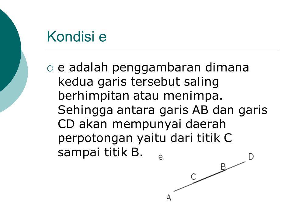 Kondisi e  e adalah penggambaran dimana kedua garis tersebut saling berhimpitan atau menimpa. Sehingga antara garis AB dan garis CD akan mempunyai da