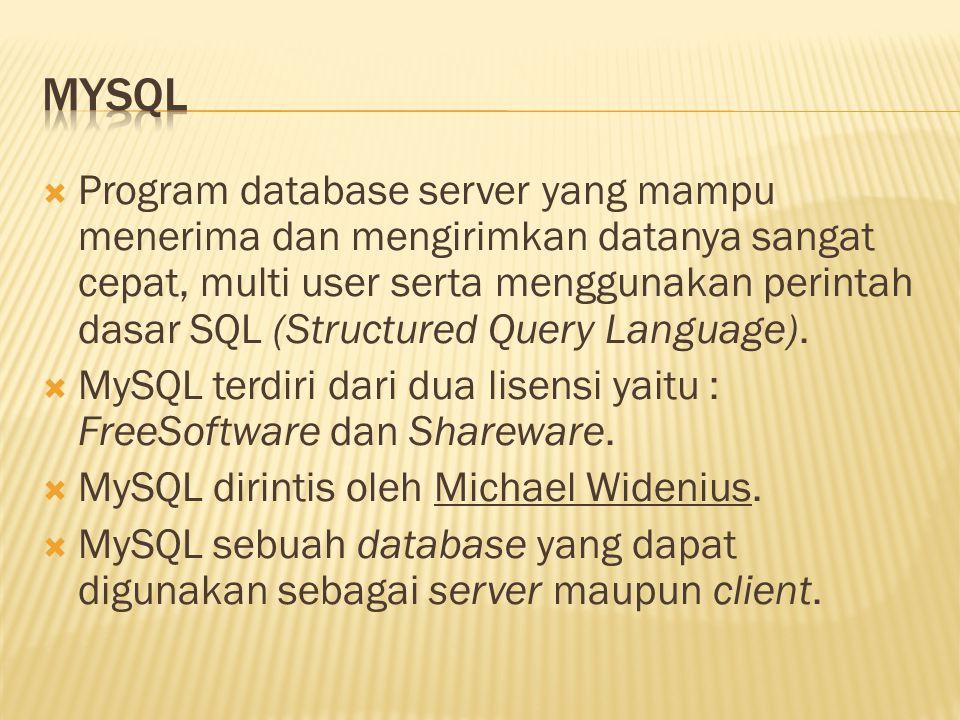  Program database server yang mampu menerima dan mengirimkan datanya sangat cepat, multi user serta menggunakan perintah dasar SQL (Structured Query Language).
