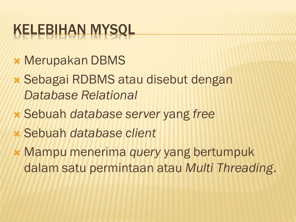  Merupakan DBMS  Sebagai RDBMS atau disebut dengan Database Relational  Sebuah database server yang free  Sebuah database client  Mampu menerima query yang bertumpuk dalam satu permintaan atau Multi Threading.
