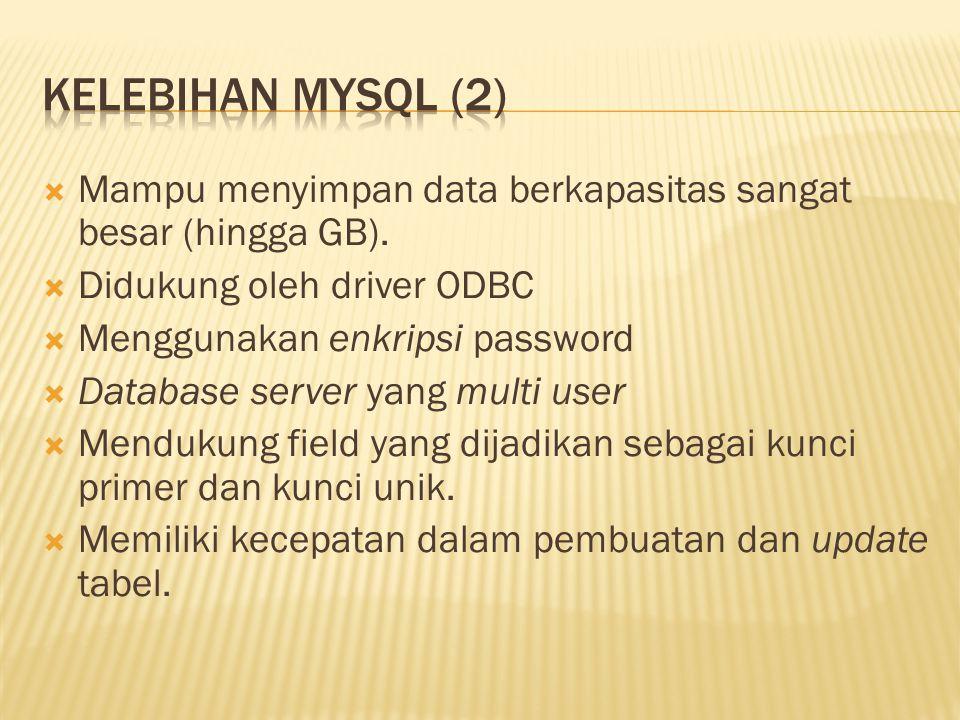  Mampu menyimpan data berkapasitas sangat besar (hingga GB).  Didukung oleh driver ODBC  Menggunakan enkripsi password  Database server yang multi