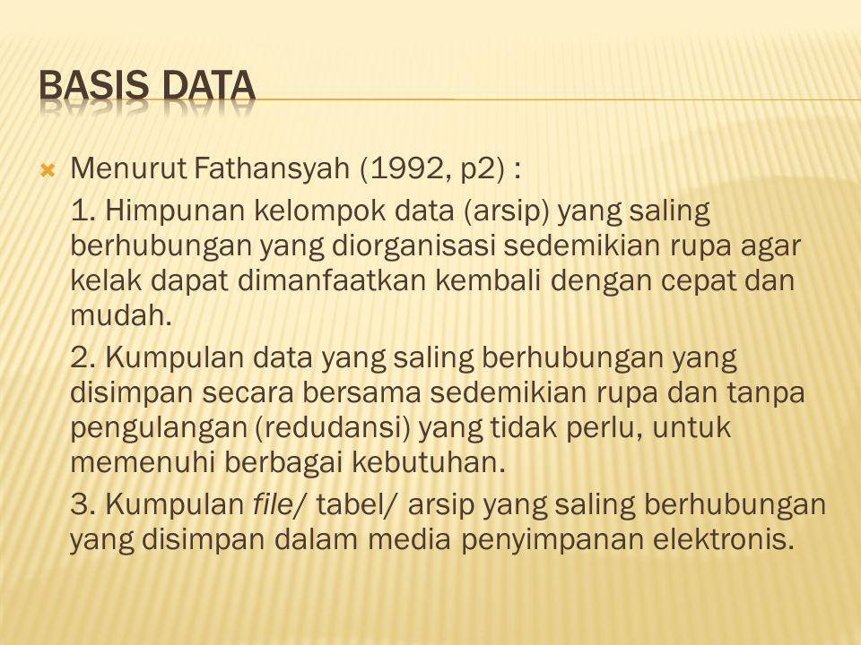  Menurut Fathansyah (1992, p2) : 1. Himpunan kelompok data (arsip) yang saling berhubungan yang diorganisasi sedemikian rupa agar kelak dapat dimanfa