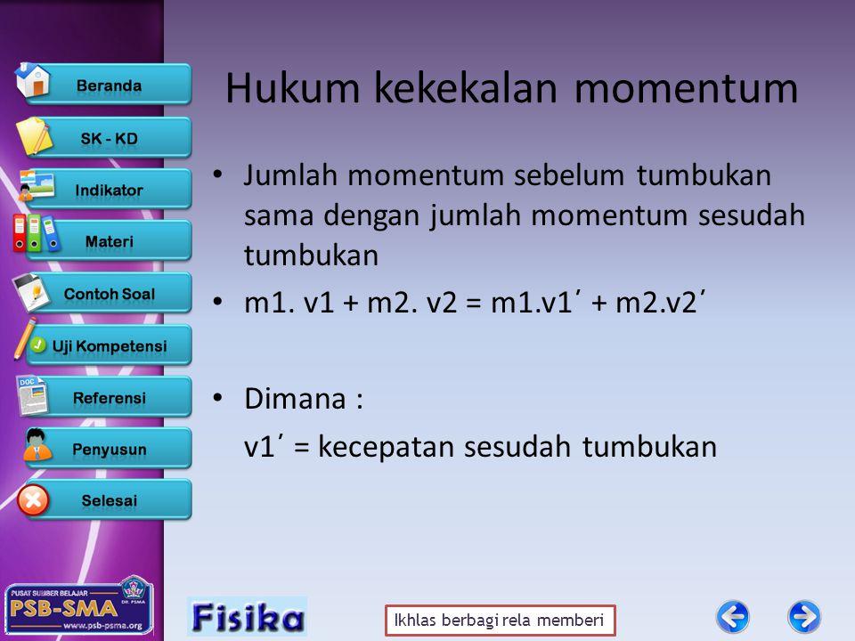 Ikhlas berbagi rela memberi Hubungan antara implus dan momentum I = Δp F.Δt = p akhir – p awal F.Δt = m.v1 – m v0 F.Δt = m (v1-v0) Dimana: v1 = kecepatan akhir (m/s) v0 = kecepatan awal (m/s)