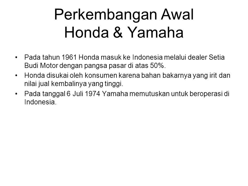 Perkembangan Awal Honda & Yamaha Pada tahun 1961 Honda masuk ke Indonesia melalui dealer Setia Budi Motor dengan pangsa pasar di atas 50%. Honda disuk