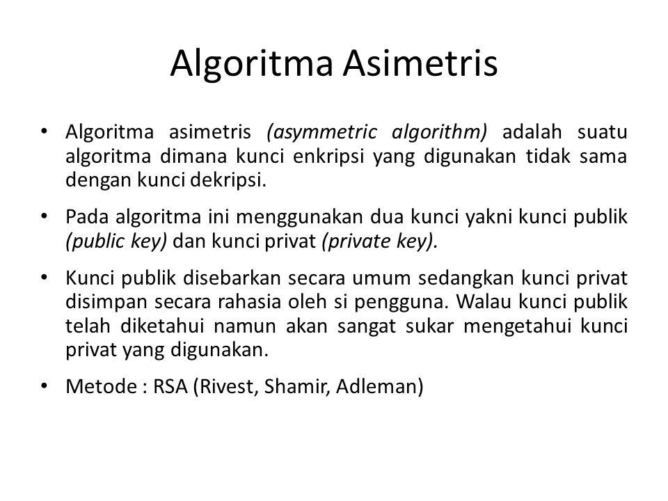 Algoritma Asimetris Algoritma asimetris (asymmetric algorithm) adalah suatu algoritma dimana kunci enkripsi yang digunakan tidak sama dengan kunci dek