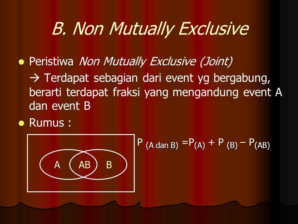B. Non Mutually Exclusive Peristiwa Non Mutually Exclusive (Joint)  Terdapat sebagian dari event yg bergabung, berarti terdapat fraksi yang mengandun
