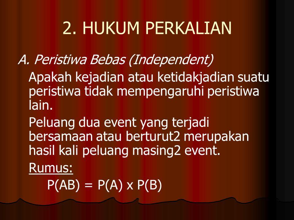 2. HUKUM PERKALIAN A. Peristiwa Bebas (Independent) Apakah kejadian atau ketidakjadian suatu peristiwa tidak mempengaruhi peristiwa lain. Peluang dua