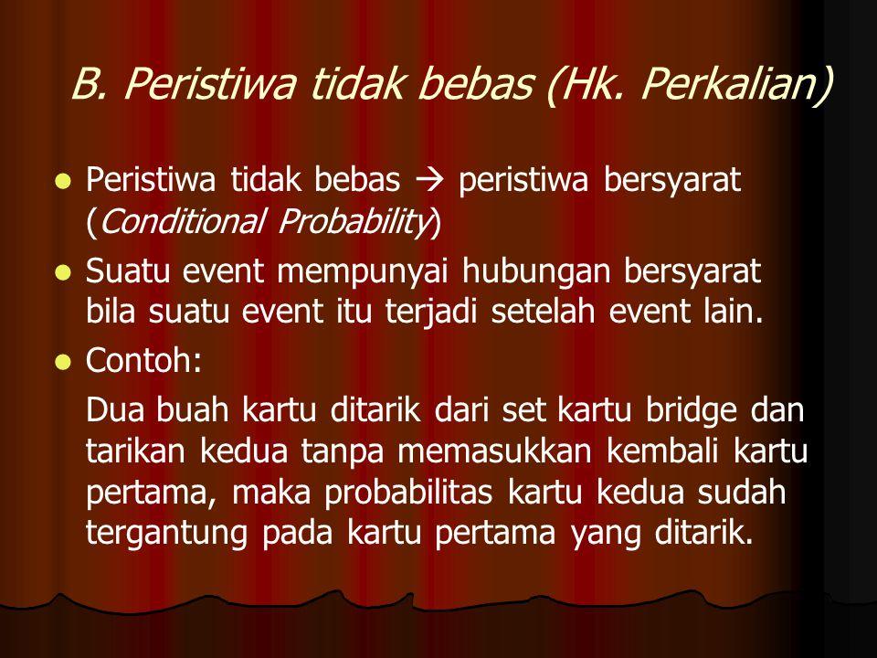 B. Peristiwa tidak bebas (Hk. Perkalian) Peristiwa tidak bebas  peristiwa bersyarat (Conditional Probability) Suatu event mempunyai hubungan bersyara