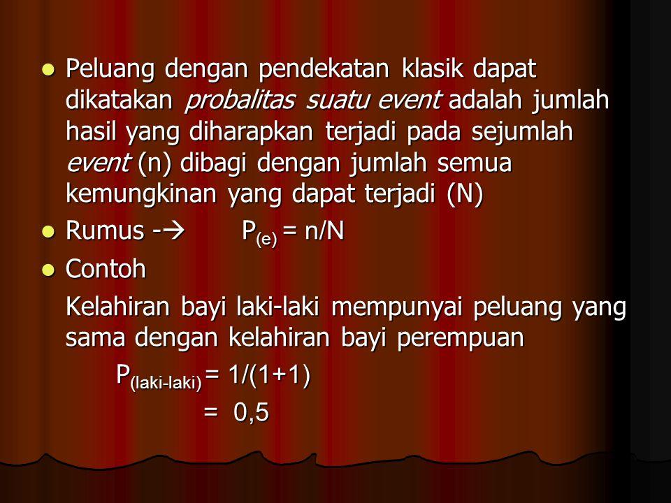 Peluang dengan pendekatan klasik dapat dikatakan probalitas suatu event adalah jumlah hasil yang diharapkan terjadi pada sejumlah event (n) dibagi den