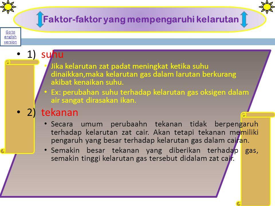 Faktor-faktor yang mempengaruhi kelarutan 1) suhu Jika kelarutan zat padat meningkat ketika suhu dinaikkan,maka kelarutan gas dalam larutan berkurang
