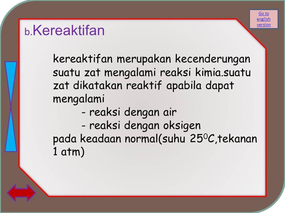 b. Kereaktifan kereaktifan merupakan kecenderungan suatu zat mengalami reaksi kimia.suatu zat dikatakan reaktif apabila dapat mengalami - reaksi denga