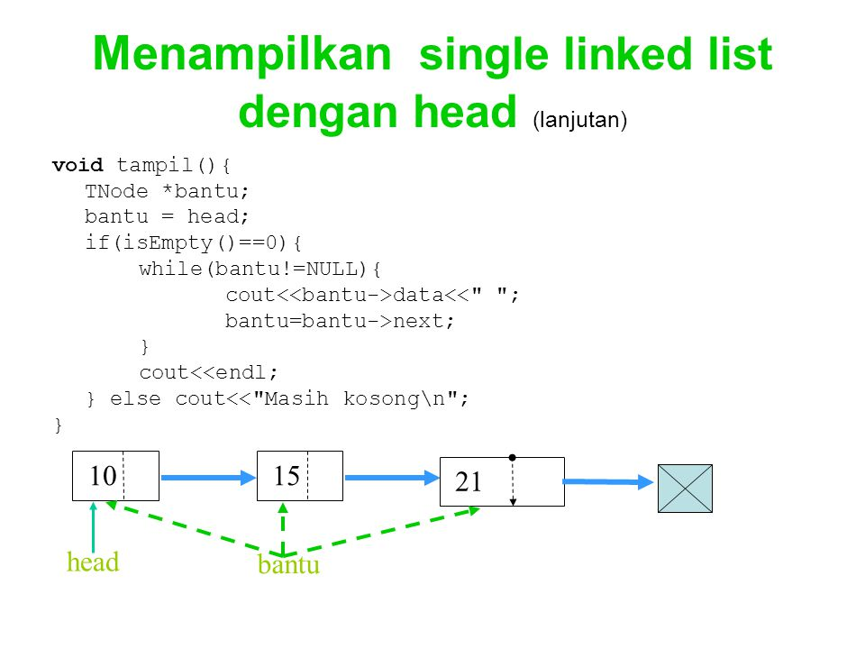 Menampilkan single linked list dengan head (lanjutan) void tampil(){ TNode *bantu; bantu = head; if(isEmpty()==0){ while(bantu!=NULL){ cout data<<