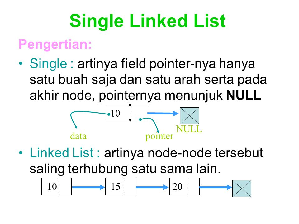 Penambahan data dari depan pada single linked list dengan head (lanjutan) void insertDepan(int databaru) { TNode *baru; baru = new TNode; baru->data = databaru; baru->next = NULL; if(isEmpty()==1){ head=baru; head->next = NULL; } else { baru->next = head; head = baru; } cout<< Data masuk\n ; }