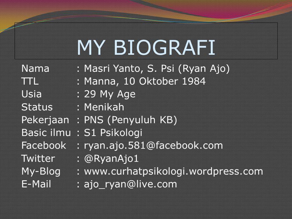 MY BIOGRAFI Nama: Masri Yanto, S.