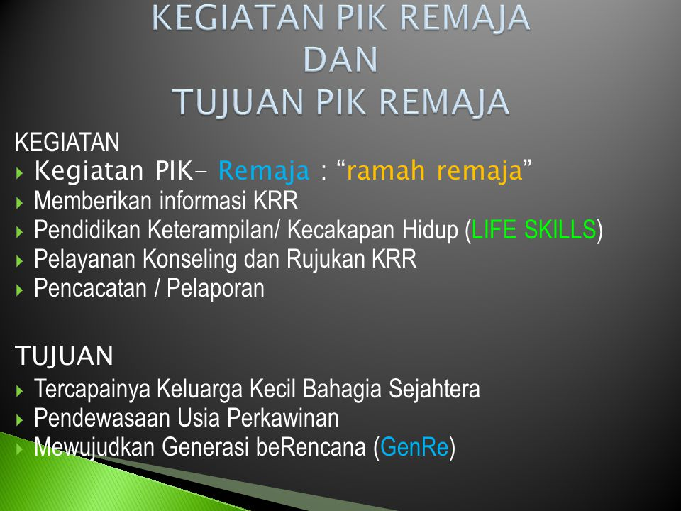 PIK – REMAJA is : Pusat Informasi Konseling Remaja.