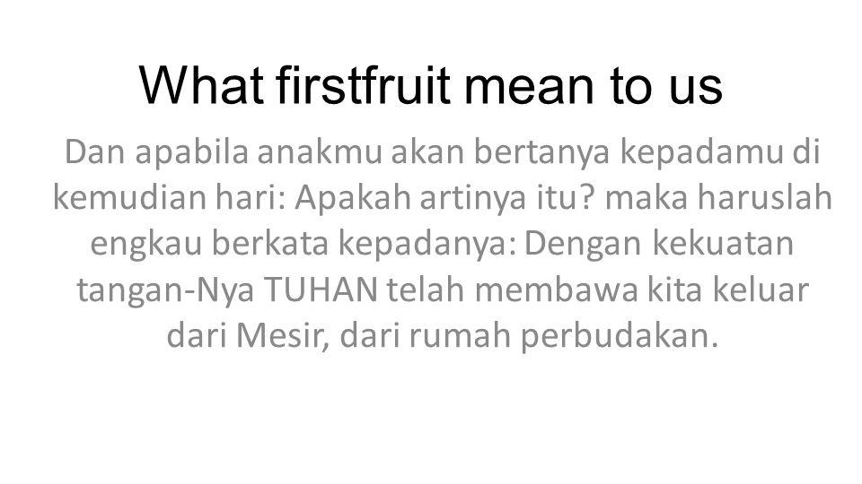 What firstfruit mean to us Dan apabila anakmu akan bertanya kepadamu di kemudian hari: Apakah artinya itu.