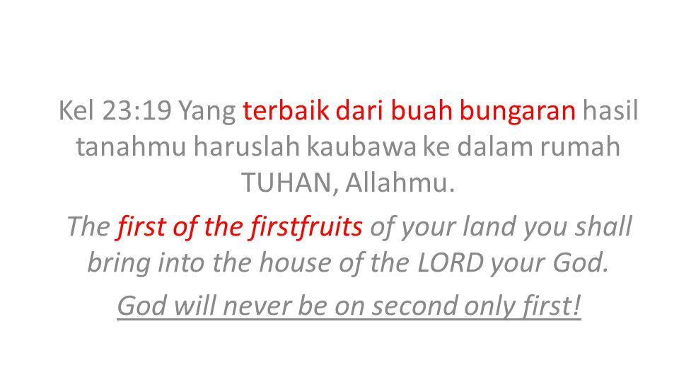 Kel 23:19 Yang terbaik dari buah bungaran hasil tanahmu haruslah kaubawa ke dalam rumah TUHAN, Allahmu.
