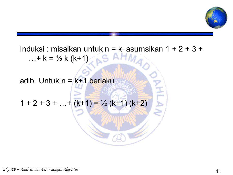 Eko AB – Analisis dan Perancangan Algoritma 11 Induksi : misalkan untuk n = k asumsikan 1 + 2 + 3 + …+ k = ½ k (k+1) adib. Untuk n = k+1 berlaku 1 + 2