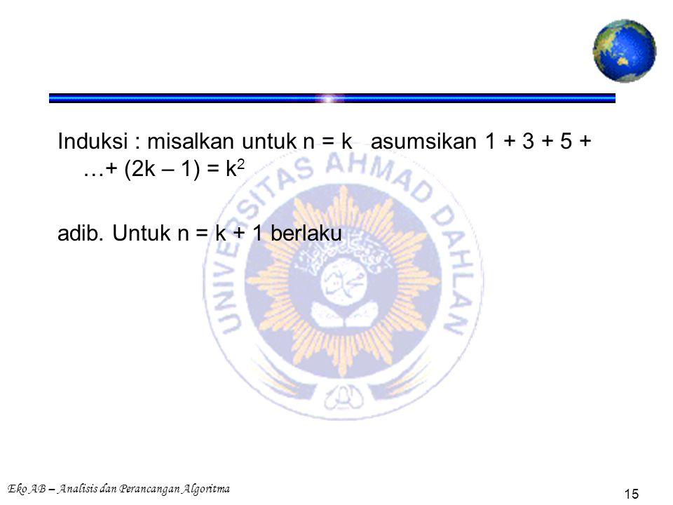 Eko AB – Analisis dan Perancangan Algoritma 15 Induksi : misalkan untuk n = k asumsikan 1 + 3 + 5 + …+ (2k – 1) = k 2 adib. Untuk n = k + 1 berlaku