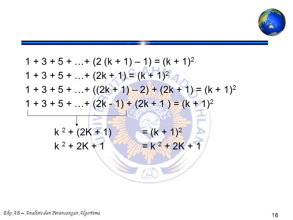 Eko AB – Analisis dan Perancangan Algoritma 16 1 + 3 + 5 + …+ (2 (k + 1) – 1) = (k + 1) 2 1 + 3 + 5 + …+ (2k + 1) = (k + 1) 2 1 + 3 + 5 + …+ ((2k + 1) – 2) + (2k + 1) = (k + 1) 2 1 + 3 + 5 + …+ (2k - 1) + (2k + 1 ) = (k + 1) 2 k 2 + (2K + 1)= (k + 1) 2 k 2 + 2K + 1= k 2 + 2K + 1