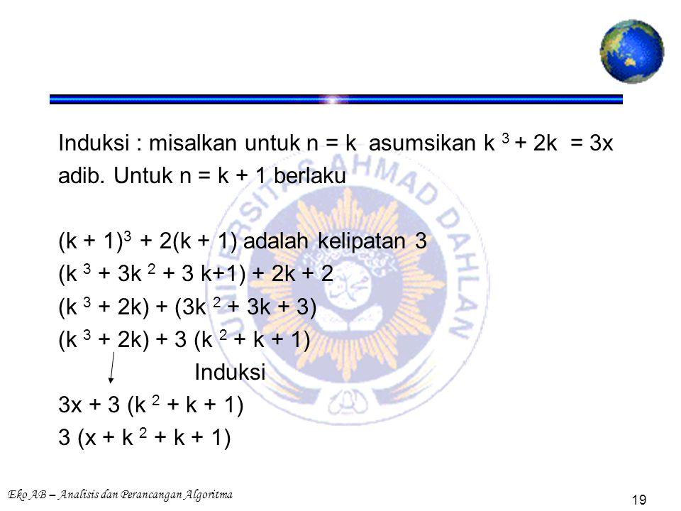 Eko AB – Analisis dan Perancangan Algoritma 19 Induksi : misalkan untuk n = k asumsikan k 3 + 2k = 3x adib. Untuk n = k + 1 berlaku (k + 1) 3 + 2(k +
