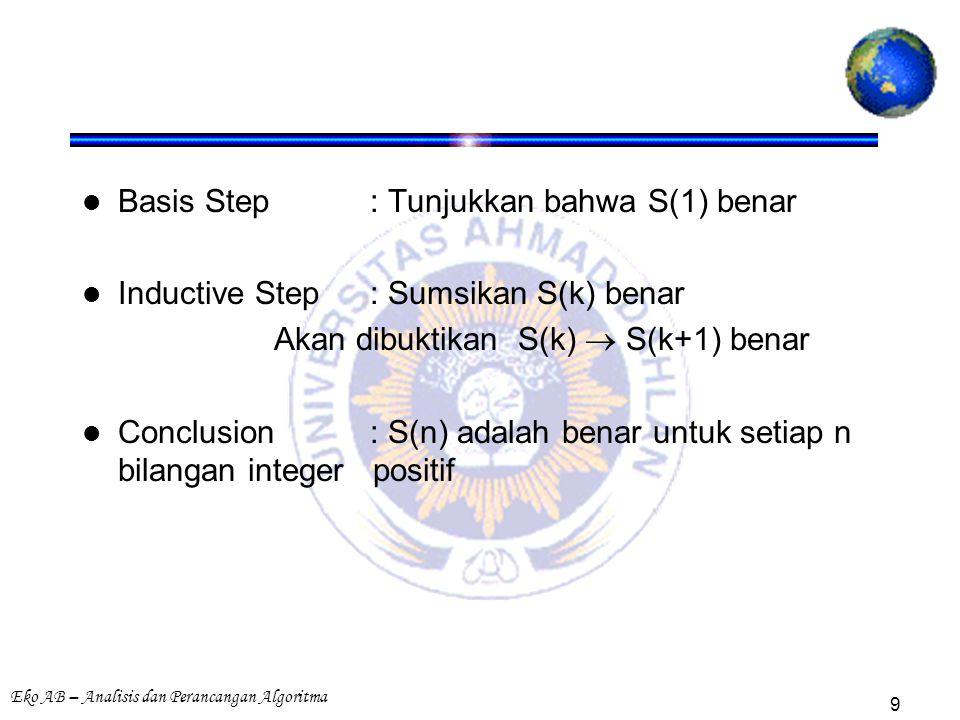 Eko AB – Analisis dan Perancangan Algoritma 9 Basis Step: Tunjukkan bahwa S(1) benar Inductive Step : Sumsikan S(k) benar Akan dibuktikan S(k)  S(k+1