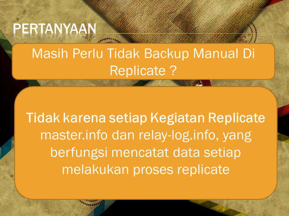 Masih Perlu Tidak Backup Manual Di Replicate .