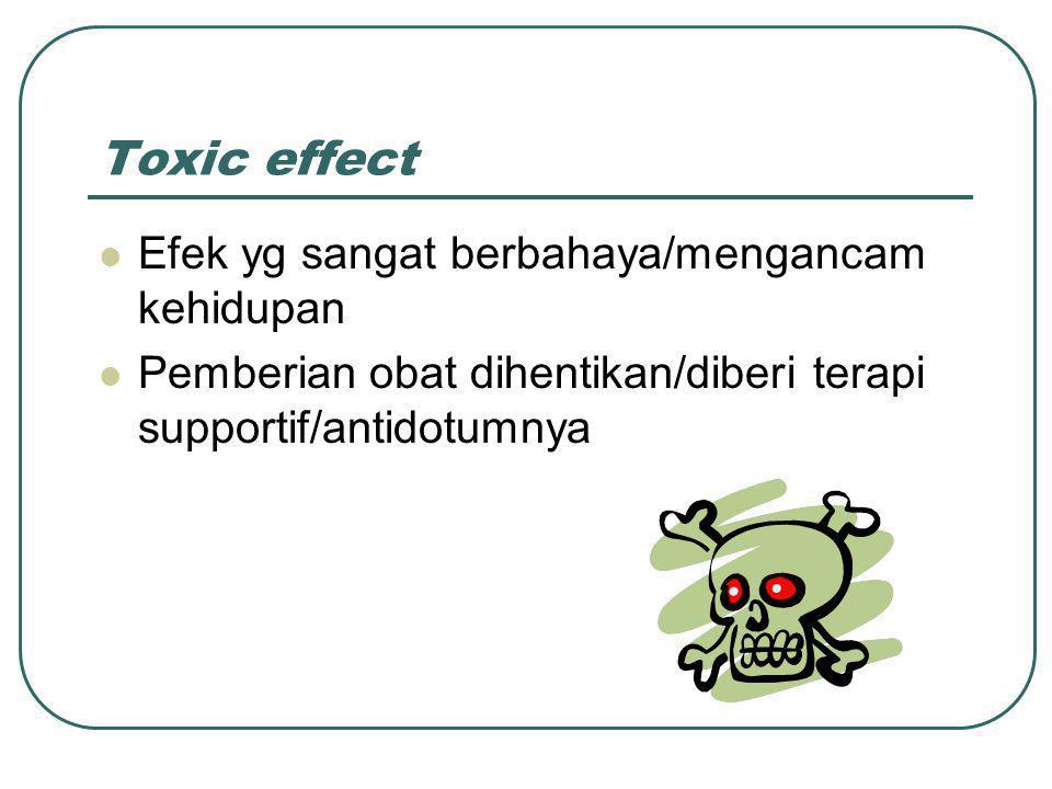 Toxic effect Efek yg sangat berbahaya/mengancam kehidupan Pemberian obat dihentikan/diberi terapi supportif/antidotumnya