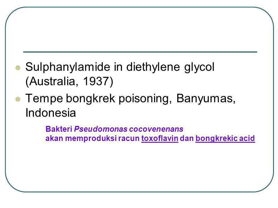 Sulphanylamide in diethylene glycol (Australia, 1937) Tempe bongkrek poisoning, Banyumas, Indonesia Bakteri Pseudomonas cocovenenans akan memproduksi