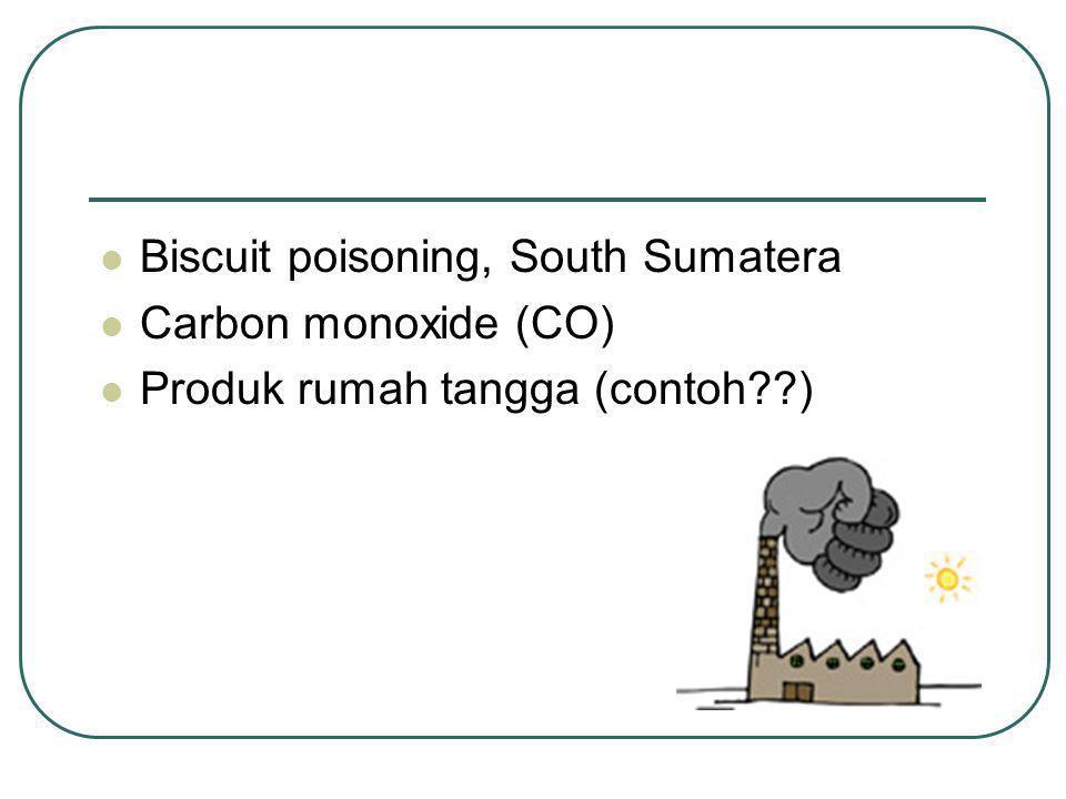 Biscuit poisoning, South Sumatera Carbon monoxide (CO) Produk rumah tangga (contoh??)