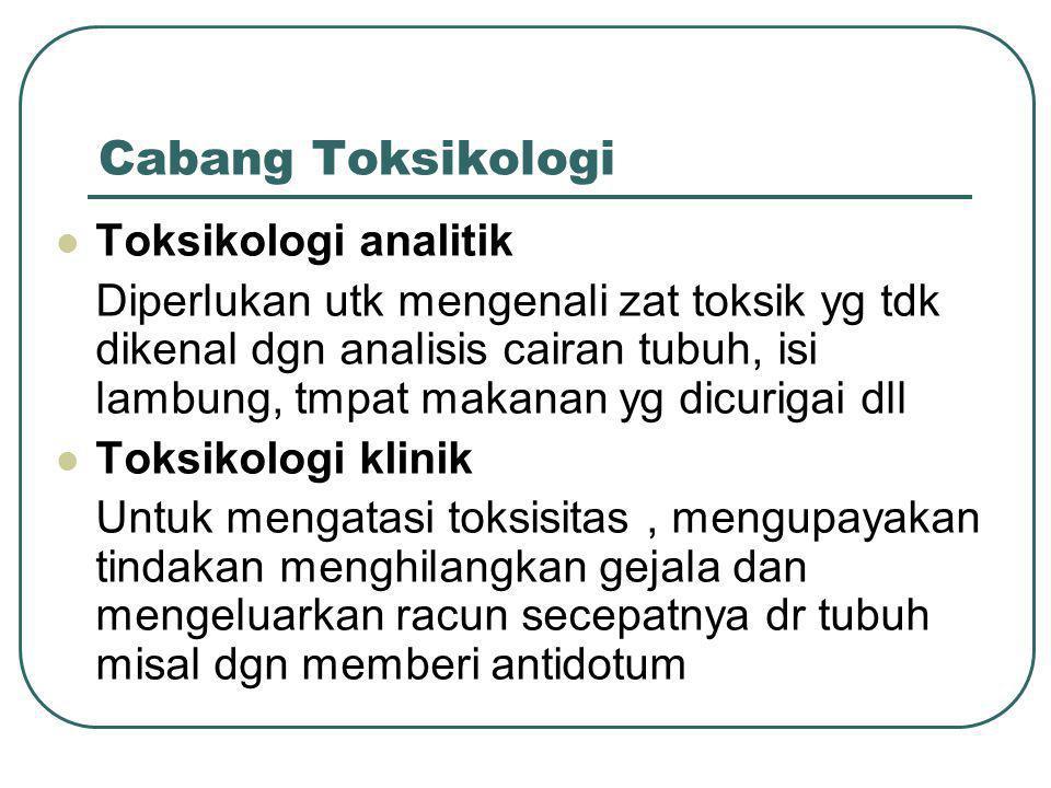 Cabang Toksikologi Toksikologi analitik Diperlukan utk mengenali zat toksik yg tdk dikenal dgn analisis cairan tubuh, isi lambung, tmpat makanan yg di