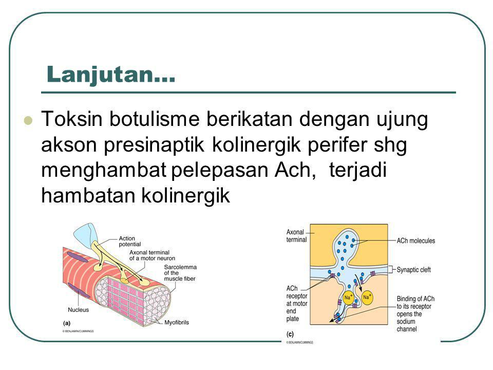 Lanjutan… Toksin botulisme berikatan dengan ujung akson presinaptik kolinergik perifer shg menghambat pelepasan Ach, terjadi hambatan kolinergik