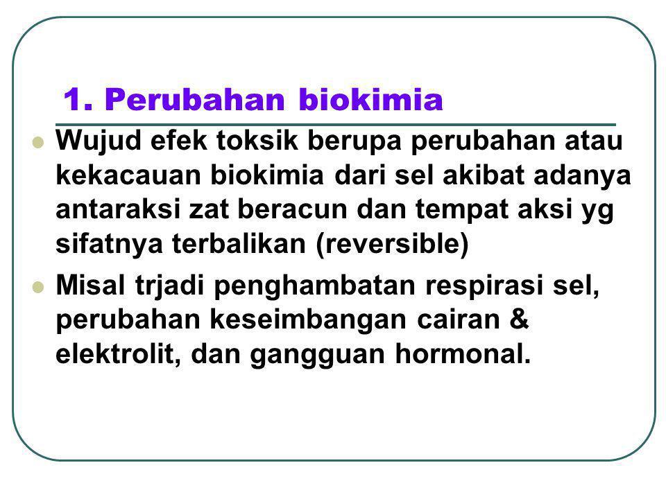 1. Perubahan biokimia Wujud efek toksik berupa perubahan atau kekacauan biokimia dari sel akibat adanya antaraksi zat beracun dan tempat aksi yg sifat