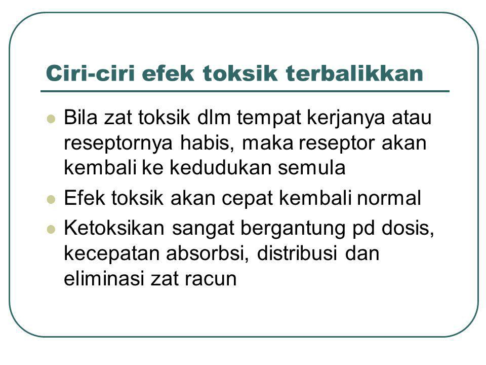 Ciri-ciri efek toksik terbalikkan Bila zat toksik dlm tempat kerjanya atau reseptornya habis, maka reseptor akan kembali ke kedudukan semula Efek toks