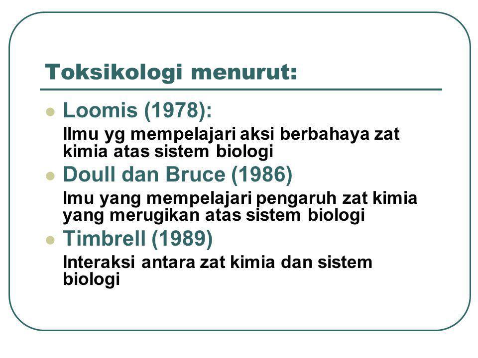 Toksikologi menurut: Loomis (1978): Ilmu yg mempelajari aksi berbahaya zat kimia atas sistem biologi Doull dan Bruce (1986) lmu yang mempelajari penga