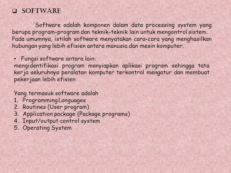  SOFTWARE Software adalah komponen dalam data processing system yang berupa program-program dan teknik-teknik lain untuk mengontrol sistem. Pada umum