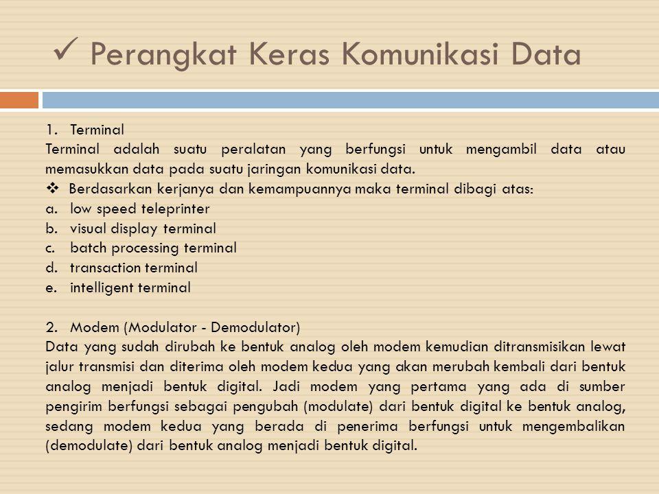 Perangkat Keras Komunikasi Data 1.Terminal Terminal adalah suatu peralatan yang berfungsi untuk mengambil data atau memasukkan data pada suatu jaringa