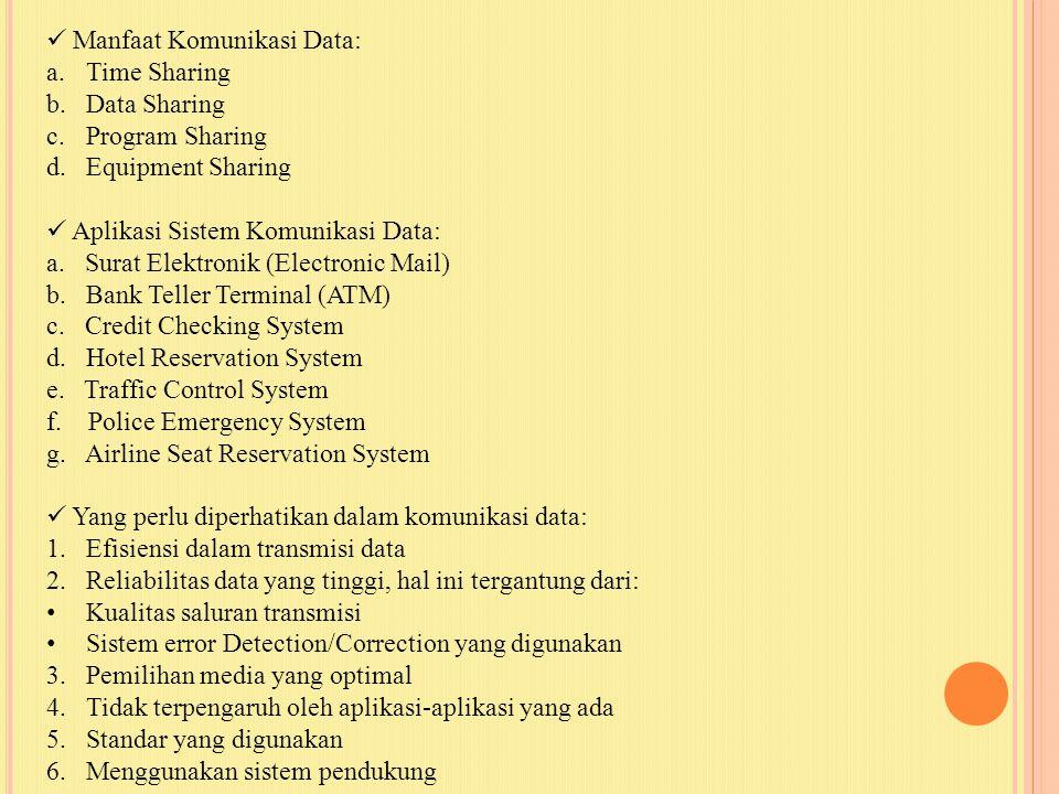 Manfaat Komunikasi Data: a.Time Sharing b.Data Sharing c.Program Sharing d.Equipment Sharing Aplikasi Sistem Komunikasi Data: a. Surat Elektronik (Ele