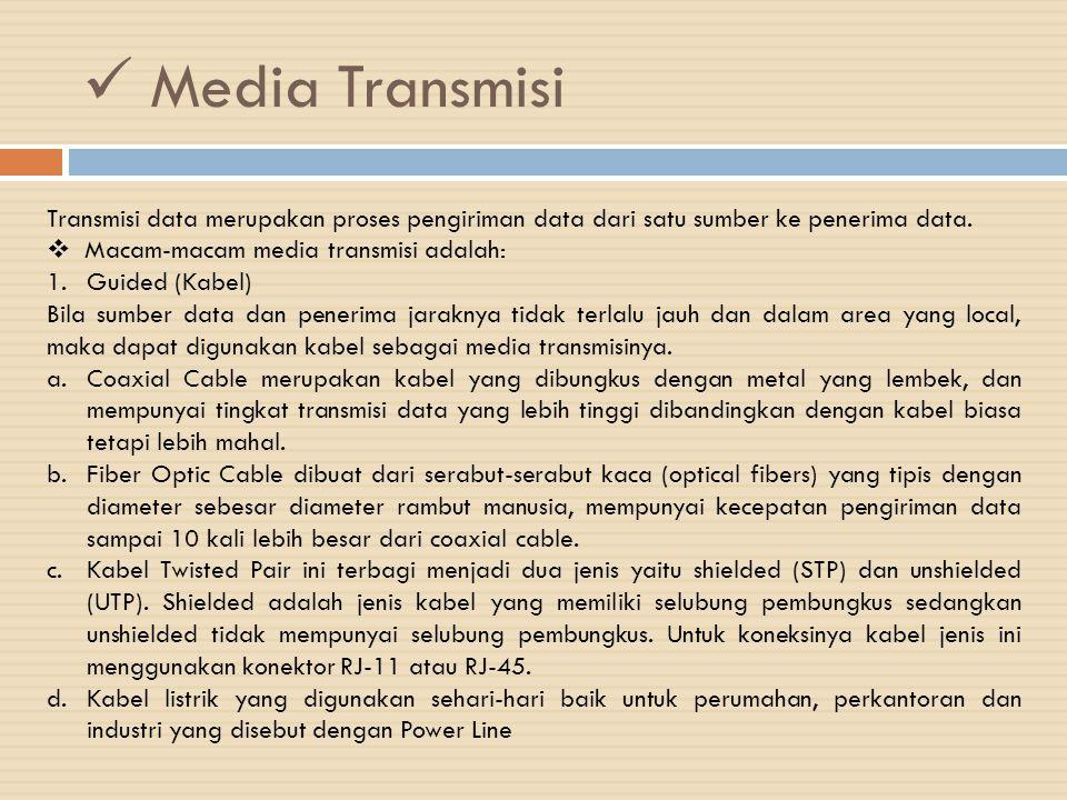Media Transmisi Transmisi data merupakan proses pengiriman data dari satu sumber ke penerima data.  Macam-macam media transmisi adalah: 1.Guided (Kab