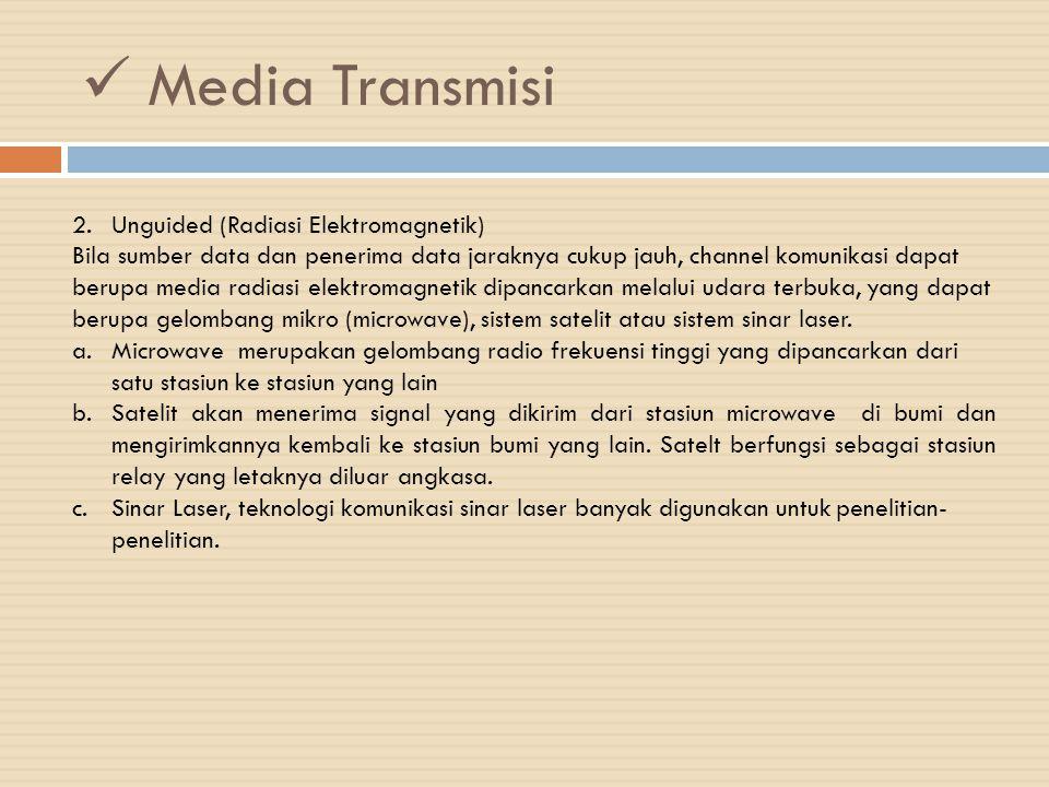 Media Transmisi 2.Unguided (Radiasi Elektromagnetik) Bila sumber data dan penerima data jaraknya cukup jauh, channel komunikasi dapat berupa media rad